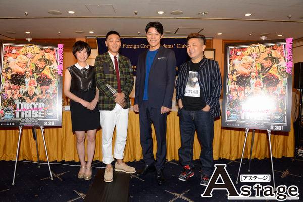 左から、清野菜名、YOUNG DAIS、鈴木亮平、園子温監督