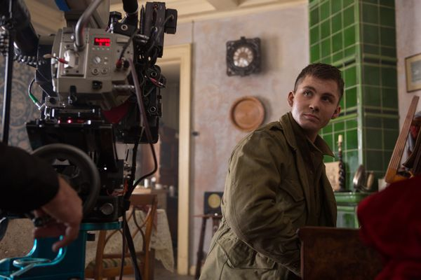 Logan Lerman on the set of Columbia Pictures' FURY.