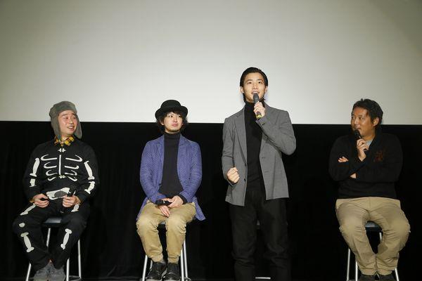 1206スピーチ(左から)前野、岡本、野村、入江