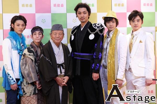 左から 安西慎太郎、矢部太郎、左とん平、小林且弥、辻本祐樹、木ノ本嶺浩