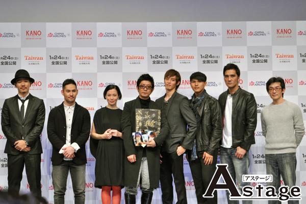 左より、Rake、中孝介、坂井真紀、永瀬正敏、ツァオ・ヨウニン、チェン・ジンホン、 マー・ジーシアン監督、ウェイ・ダーションプロデューサー