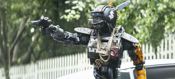 Chappie (Sharlto Copley) from Columbia Pictures' action-adventure CHAPPIE.