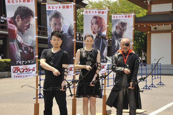 左から宮迫さん、米倉さん、竹中さん『アベンジャーズ/エイジ・オブ・ウルトロン』増上寺イベント0527メイン