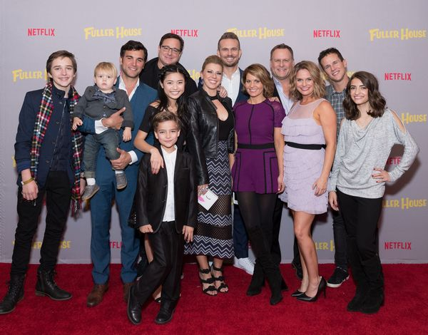 Candace Cameron Bure, Jodie Sweetin, Andrea Barber, Bob Saget, Dave Coulier, Juan Pablo Di Pace, Scott Weinger, John Brotherton, Michael Campion, Elias Harger, Soni Nicole Bringas, Ashley Liao and Dashiell & Fox Messitt attend the exclusive holiday premiere event of Fuller House Season 2 at the Presidio Theatre in San Francisco on Friday, December 2nd.
