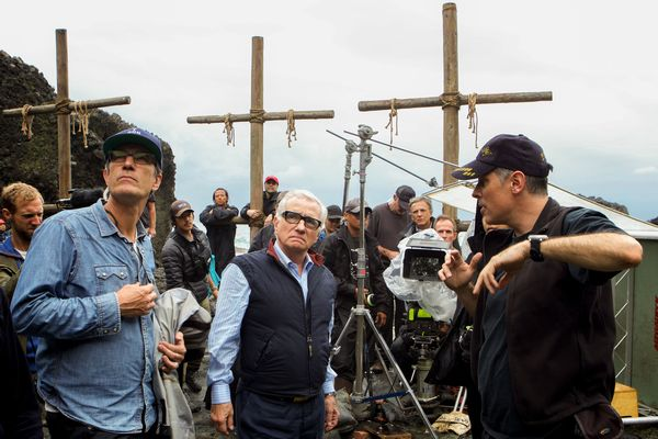 (Center) Director, Martin Scorsese and (Right) Cinematographer, Rodrigo Prieto on the set of the film SILENCE by Paramount Pictures, SharpSword Films, and AI Films