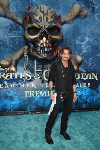 "at the Premiere of Disney's and Jerry Bruckheimer Films' ""Pirates of the Caribbean: Dead Men Tell No Tales,"" at the Dolby Theatre in Hollywood, CA with Johnny Depp as the one-and-only Captain Jack in a rollicking new tale of the high seas infused with the elements of fantasy, humor and action that have resulted in an international phenomenon for the past 13 years. May 18, 2017 in Hollywood, California."