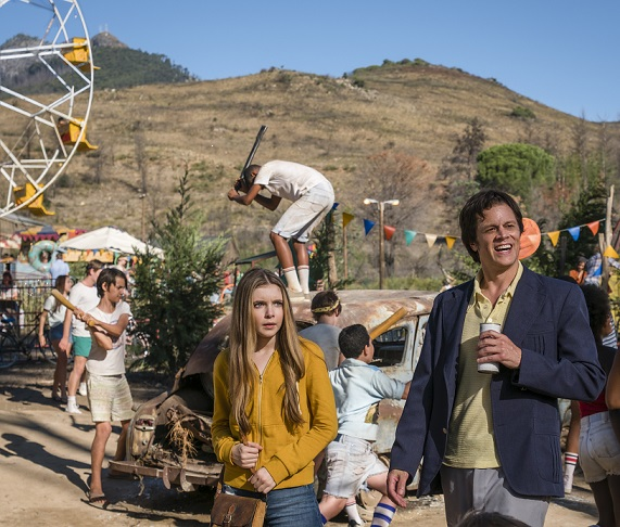 (L-R) Eleanor Worthington-Cox and Johnny Knoxville in the film, ACTION POINT by Paramount