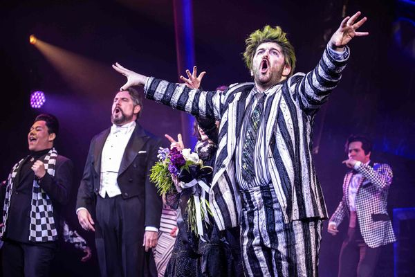 NEW YORK, NEW YORK - APRIL 25: Alex Brightman performs onstage as 'Beetlejuice' during 'Beetlejuice' broadway opening night at Winter Garden Theatre on April 25, 2019 in New York City. (Photo by Santiago Felipe/Getty Images)