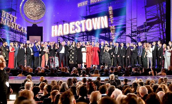 NEW YORK, NEW YORK - JUNE 09: The cast and crew of Hadestown accept the award for Best Musical onstage during the 2019 Tony Awards at Radio City Music Hall on June 9, 2019 in New York City. (Photo by Theo Wargo/Getty Images for Tony Awards Productions)