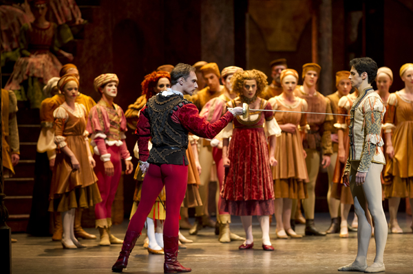 Federico Bonelli as Romeo and Bennet Gartside as Tybalt in The Royal Ballet production of Romeo and Juliet (1965) choreographed by Kenneth MacMIllan (1929-1992) to music by Sergei Prokofiev (1891-1953) with set and costume designs by Nicholas Georgiadis (1923-2001) and lighting design by John B. Read. Performed at the Royal Opera House, Covent Garden on 10 March 2012. ***ARPDATA*** ROMEO AND JULIET ; Music by Prokofiev ; Choreography by MacMillan ; The Royal Ballet ; At the Royal Opera House, London, UK ; 10 March 2012 ; Credit: Royal Opera House / ArenaPAL