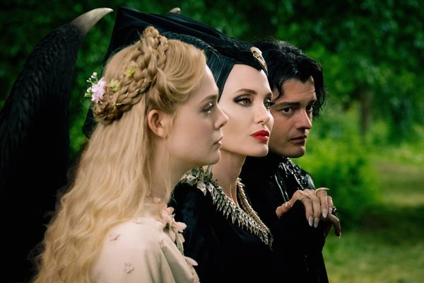 Elle Fanning is Aurora, Angelina Jolie is Maleficent and Sam Riley is Diaval in Disney's live-action MALEFICENT: MISTRESS OF EVIL