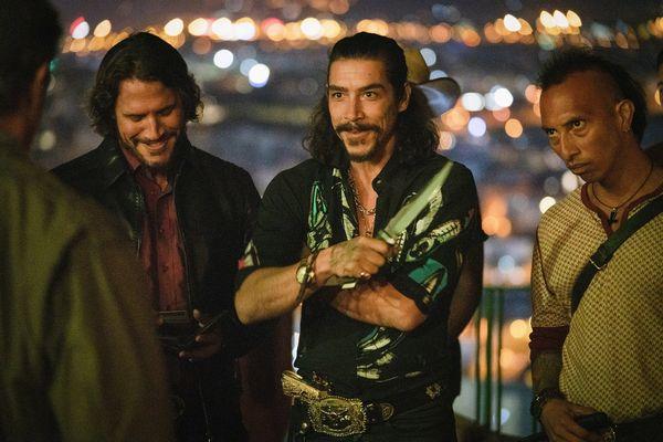 Sylvester Stallone as 'John Rambo', Sergio Peris-Mencheta as 'Hugo Martinez' and Oscar Jaenada as 'Victor Martinez' in RAMBO: LAST BLOOD. Photo Credit: Yana Blajeva.